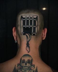 тату на затылке для девушек 24.09.2019 №015 -the back of the head tattoo- tattoo-photo.ru