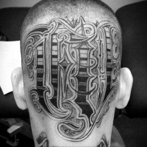 тату на затылке для девушек 24.09.2019 №017 -the back of the head tattoo- tattoo-photo.ru