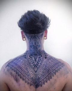 тату на затылке для мужчин 24.09.2019 №024 -the back of the head tattoo- tattoo-photo.ru