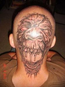 тату на затылке для мужчин 24.09.2019 №032 -the back of the head tattoo- tattoo-photo.ru