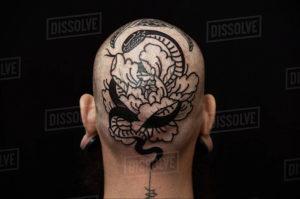 тату на затылке для мужчин 24.09.2019 №038 -the back of the head tattoo- tattoo-photo.ru