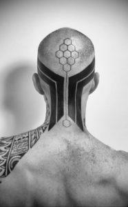 тату на затылке для мужчин 24.09.2019 №043 -the back of the head tattoo- tattoo-photo.ru
