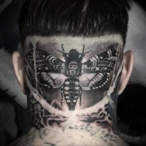 тату на затылке для мужчин 24.09.2019 №048 -the back of the head tattoo- tattoo-photo.ru
