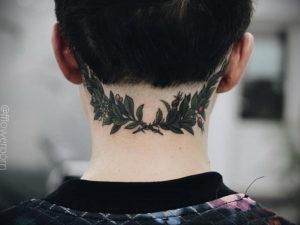 тату на затылке и шее 24.09.2019 №020 -the back of the head tattoo- tattoo-photo.ru