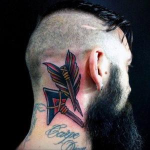тату на затылке и шее 24.09.2019 №054 -the back of the head tattoo- tattoo-photo.ru
