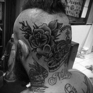 тату на затылке и шее 24.09.2019 №055 -the back of the head tattoo- tattoo-photo.ru