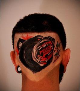 фото татуировки на затылке 24.09.2019 №007 -the back of the head tattoo- tattoo-photo.ru