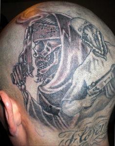 фото татуировки на затылке 24.09.2019 №026 -the back of the head tattoo- tattoo-photo.ru