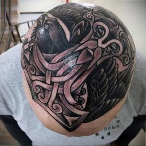 фото татуировки на затылке 24.09.2019 №030 -the back of the head tattoo- tattoo-photo.ru