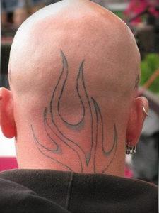 фото татуировки на затылке 24.09.2019 №035 -the back of the head tattoo- tattoo-photo.ru