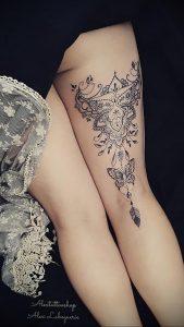 Мехенди на ляжках фото пример 14.02.2020 №023 -Mehendi on thighs- tattoo-photo.ru
