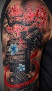 Фото вариант тату с деревом сакуры 09.02.2020 №006 -sakura tattoo- tattoo-photo.ru