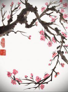 Фото вариант тату с деревом сакуры 09.02.2020 №008 -sakura tattoo- tattoo-photo.ru