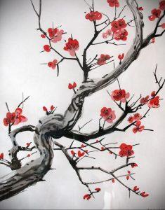 Фото вариант тату с деревом сакуры 09.02.2020 №009 -sakura tattoo- tattoo-photo.ru