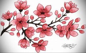 Фото вариант эскиза для тату сакура 09.02.2020 №015 -sakura tattoo- tattoo-photo.ru