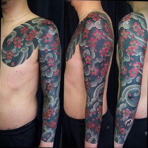 Фото тату сакура на руке 09.02.2020 №013 -sakura tattoo- tattoo-photo.ru