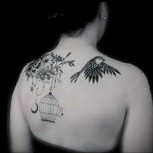птица вылетает из клетки тату 02.01.2019 №005 -bird cage tattoo- tattoo-photo.ru