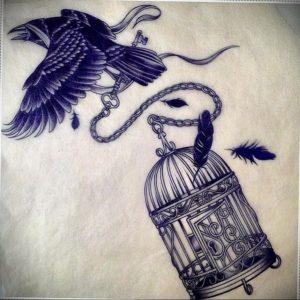 птица вылетает из клетки тату 02.01.2019 №023 -bird cage tattoo- tattoo-photo.ru