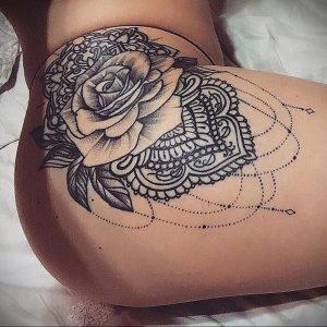 тату мандала на бедре 04.02.2020 №028 -mandala tattoo- tattoo-photo.ru