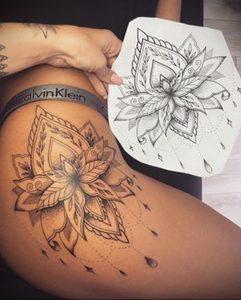 тату мандала на бедре 04.02.2020 №052 -mandala tattoo- tattoo-photo.ru