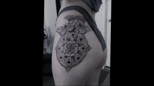 тату мандала на бедре 04.02.2020 №094 -mandala tattoo- tattoo-photo.ru