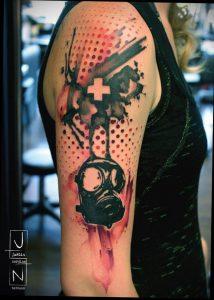 тату противогаз 15.01.2020 №017 -gas mask tattoo- tattoo-photo.ru_2