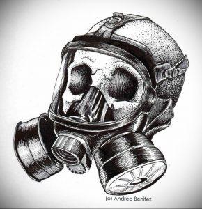 тату противогаз 15.01.2020 №291 -gas mask tattoo- tattoo-photo.ru