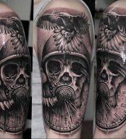 тату череп в противогазе 15.01.2020 №011 -skull tattoo in gas mask- tattoo-photo.ru