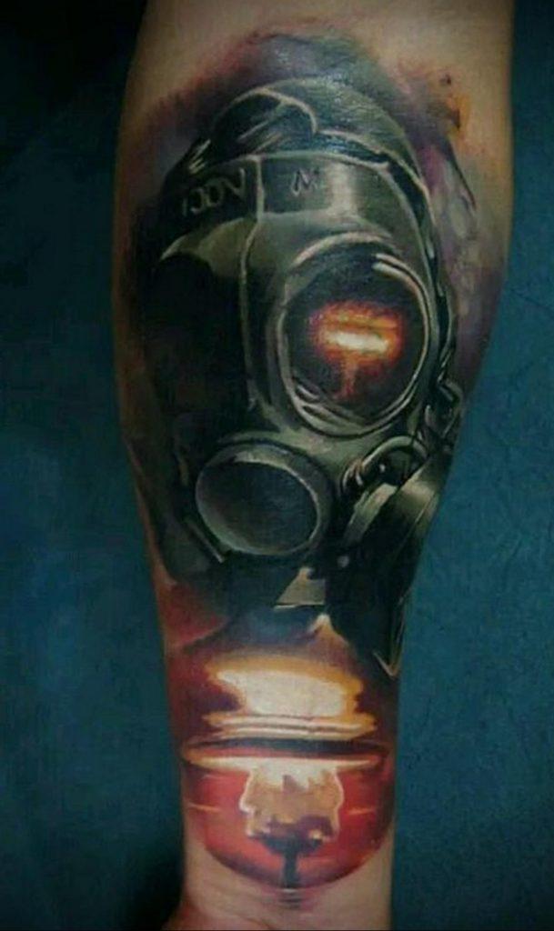 тату череп в противогазе 15.01.2020 №014 -skull tattoo in gas mask- tattoo-photo.ru