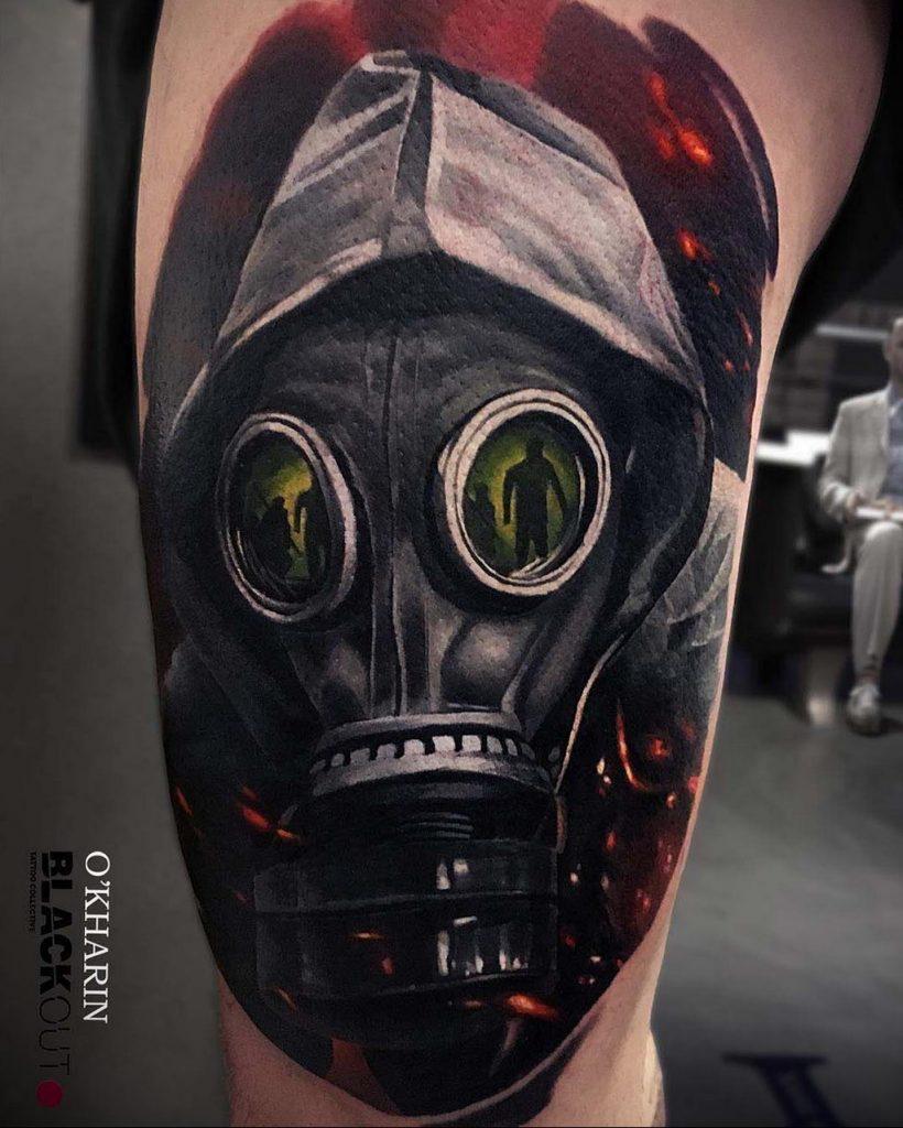тату череп в противогазе 15.01.2020 №015 -skull tattoo in gas mask- tattoo-photo.ru