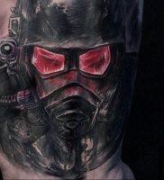 тату череп в противогазе 15.01.2020 №017 -skull tattoo in gas mask- tattoo-photo.ru