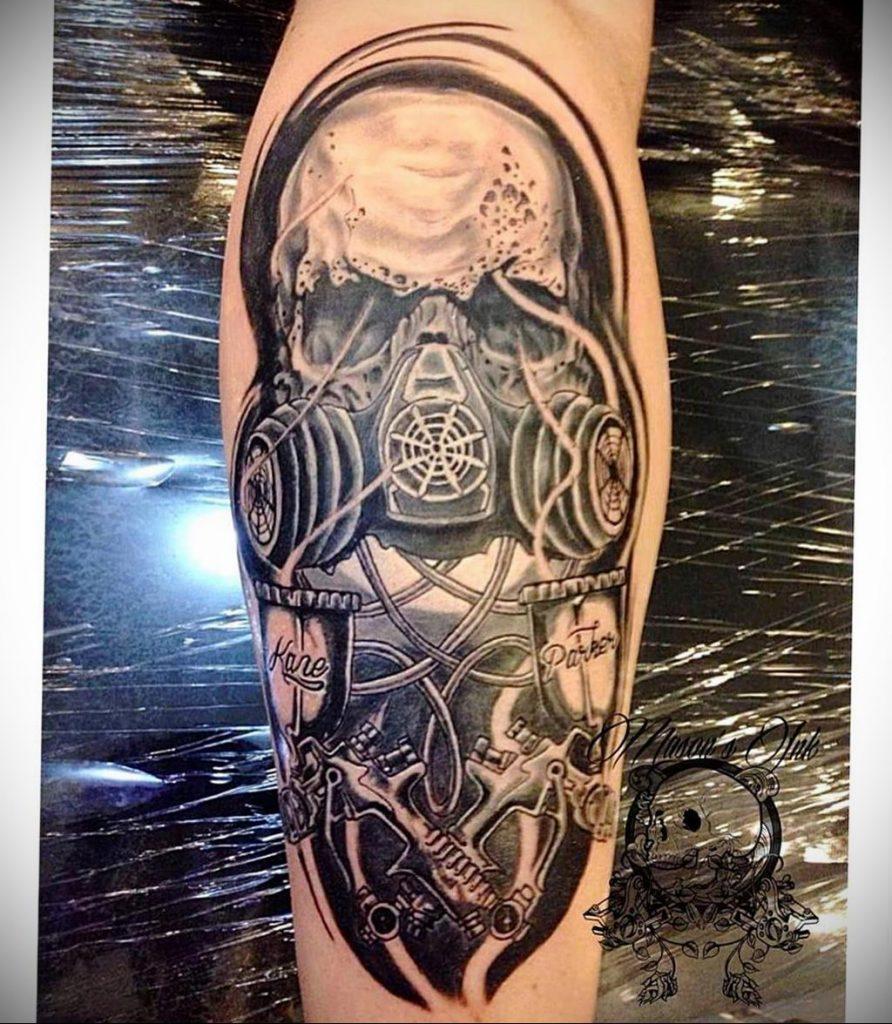 тату череп в противогазе 15.01.2020 №019 -skull tattoo in gas mask- tattoo-photo.ru
