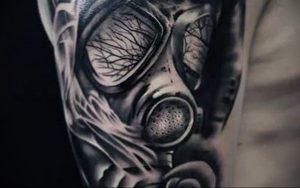 тату череп в противогазе 15.01.2020 №031 -skull tattoo in gas mask- tattoo-photo.ru