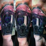 тату череп в противогазе 15.01.2020 №034 -skull tattoo in gas mask- tattoo-photo.ru