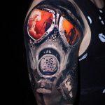 тату череп в противогазе 15.01.2020 №042 -skull tattoo in gas mask- tattoo-photo.ru