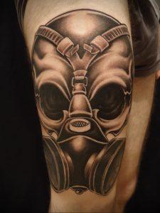 тату череп в противогазе 15.01.2020 №045 -skull tattoo in gas mask- tattoo-photo.ru
