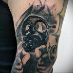 тату череп в противогазе 15.01.2020 №046 -skull tattoo in gas mask- tattoo-photo.ru