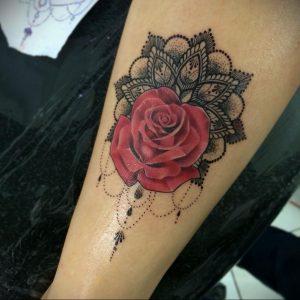 фото тату мандала и цветы 04.02.2020 №010 -mandala tattoo- tattoo-photo.ru