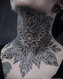 фото тату мандала на шее 04.02.2020 №112 -mandala tattoo- tattoo-photo.ru