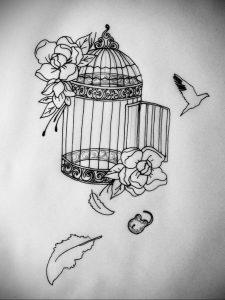 фото тату птица в клетке 02.01.2019 №008 -bird cage tattoo- tattoo-photo.ru