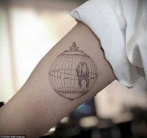 фото тату птица в клетке 02.01.2019 №057 -bird cage tattoo- tattoo-photo.ru