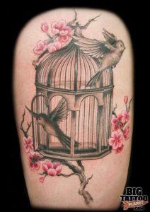 фото тату птица в клетке 02.01.2019 №060 -bird cage tattoo- tattoo-photo.ru