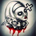 Тату Монашка в стиле хоррор 16.02.2020 №1008 -nun tattoo- tattoo-photo.ru