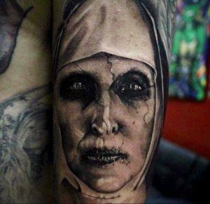 Тату Монашка в стиле хоррор 16.02.2020 №1020 -nun tattoo- tattoo-photo.ru