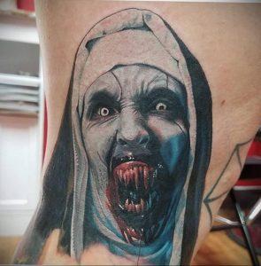 Тату Монашка в стиле хоррор 16.02.2020 №1021 -nun tattoo- tattoo-photo.ru