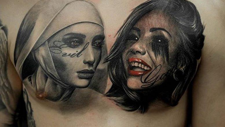 Тату Монашка в стиле хоррор 16.02.2020 №1028 -nun tattoo- tattoo-photo.ru