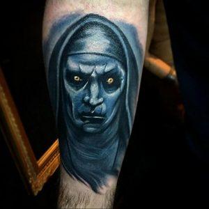 Тату Монашка в стиле хоррор 16.02.2020 №1032 -nun tattoo- tattoo-photo.ru