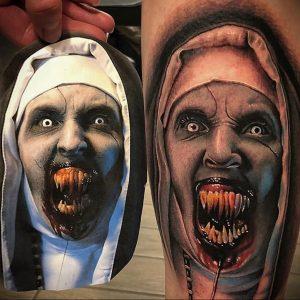 Тату Монашка в стиле хоррор 16.02.2020 №1040 -nun tattoo- tattoo-photo.ru