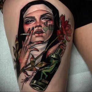 Тату Монашка курит 16.02.2020 №1002 -tattoo nun smoking- tattoo-photo.ru