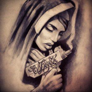 Тату Монашка пример рисунка 16.02.2020 №1074 -tattoo nun- tattoo-photo.ru